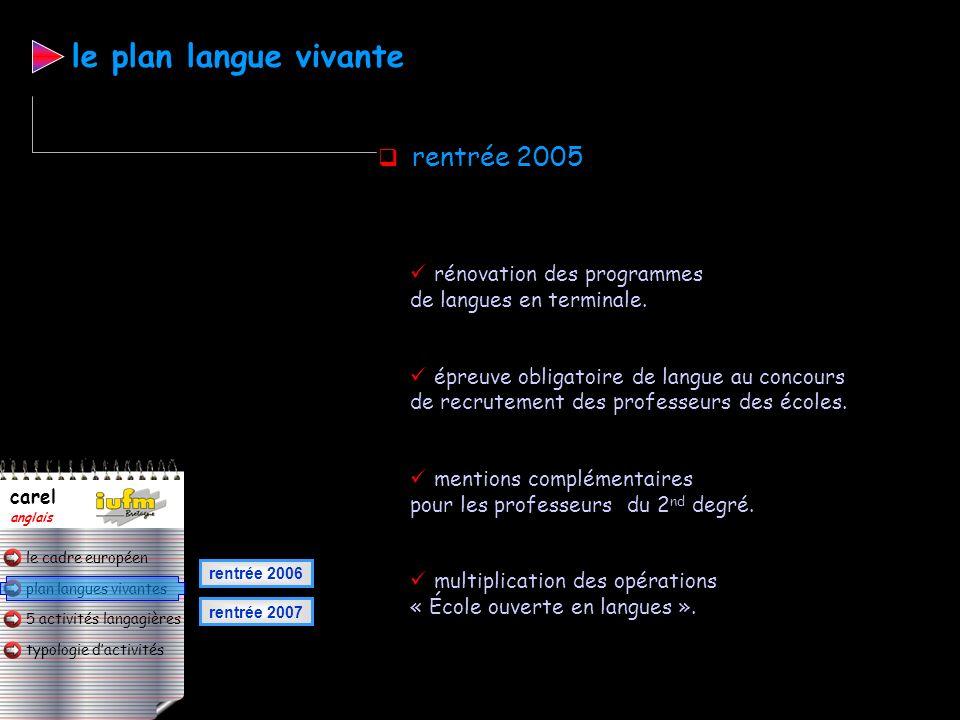 plan langues vivantes typologie dactivités 5 activités langagières le cadre européen carel anglais création des commissions académiques sur lenseignem