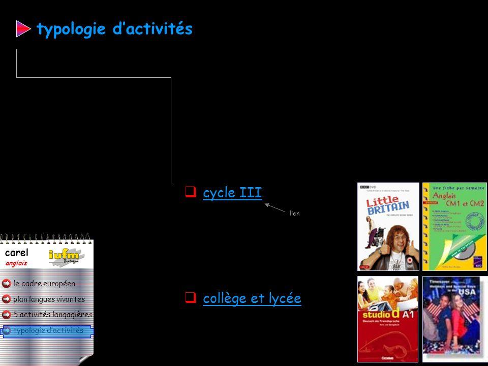 plan langues vivantes typologie dactivités 5 activités langagières le cadre européen carel anglais A1 fin de CM2 A2 fin de 3 ème LV étudiée au collège