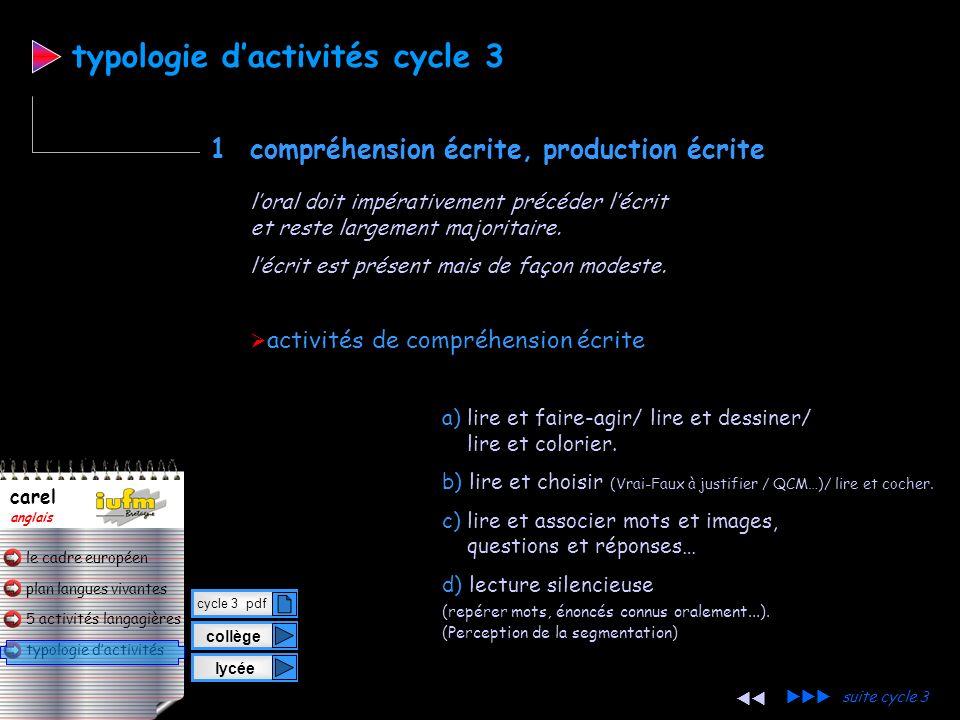 plan langues vivantes typologie dactivités 5 activités langagières le cadre européen carel anglais activités de production orale j) demander, écouter