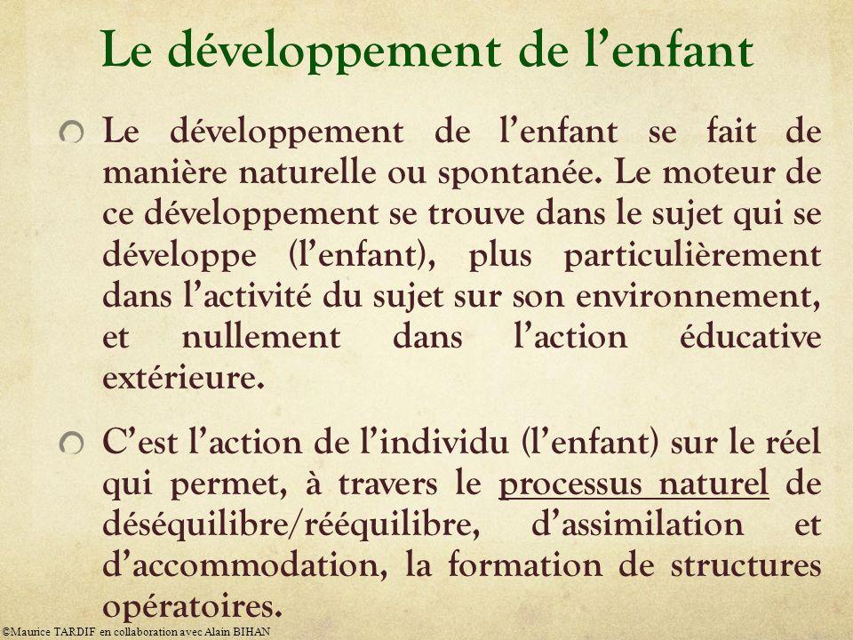 Le développement de lenfant Le développement de lenfant se fait de manière naturelle ou spontanée. Le moteur de ce développement se trouve dans le suj