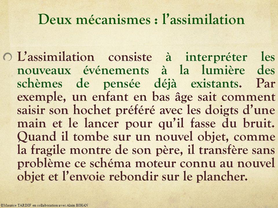 Deux mécanismes : lassimilation Lassimilation consiste à interpréter les nouveaux événements à la lumière des schèmes de pensée déjà existants. Par ex