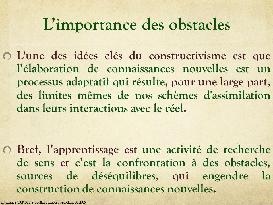 Limportance des obstacles L'une des idées clés du constructivisme est que lélaboration de connaissances nouvelles est un processus adaptatif qui résul