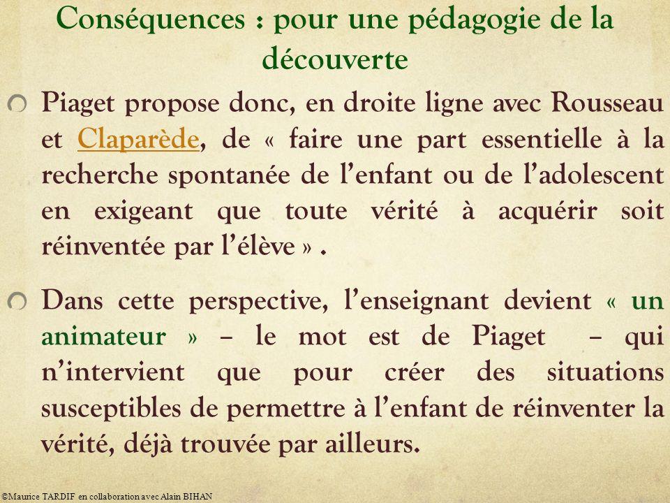 Conséquences : pour une pédagogie de la découverte Piaget propose donc, en droite ligne avec Rousseau et Claparède, de « faire une part essentielle à