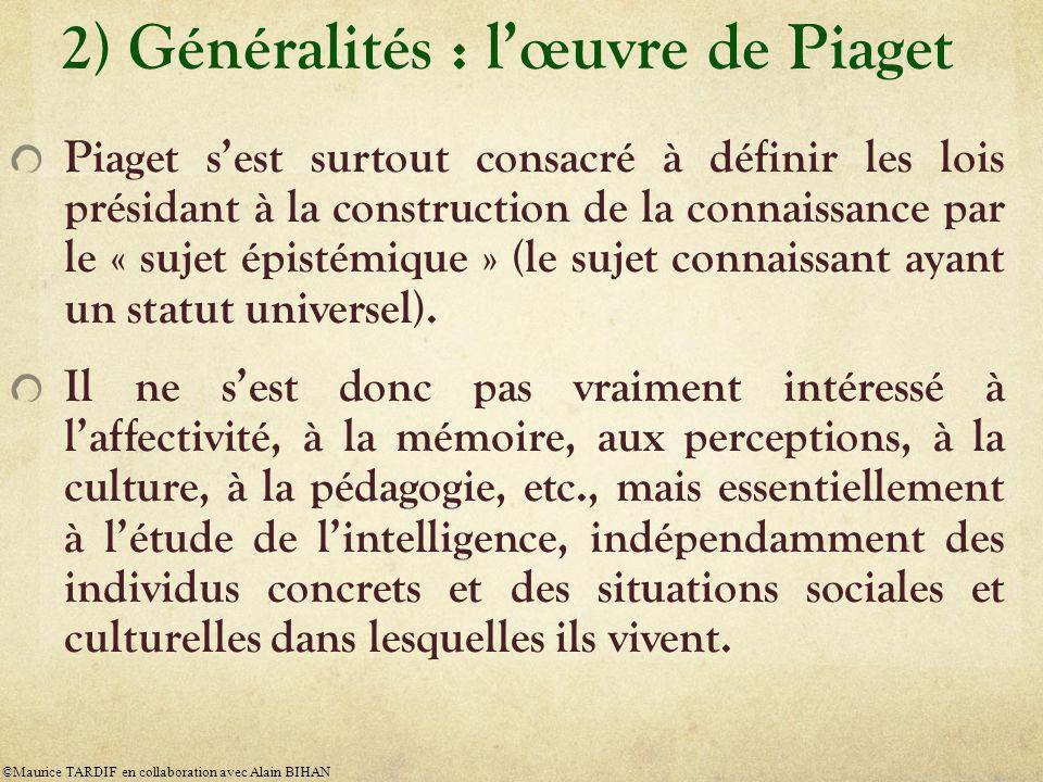 2) Généralités : lœuvre de Piaget À partir des années 1950, ses idées épistémologiques et psychologiques ont servi de fondements à léducation actuelle, à la critique de léducation traditionnelle, aux réformes récentes de léducation dans le monde.