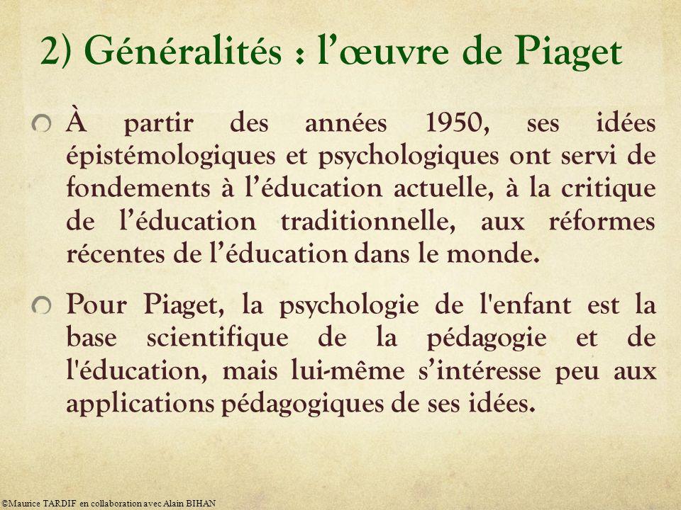 2) Généralités : lœuvre de Piaget À partir des années 1950, ses idées épistémologiques et psychologiques ont servi de fondements à léducation actuelle