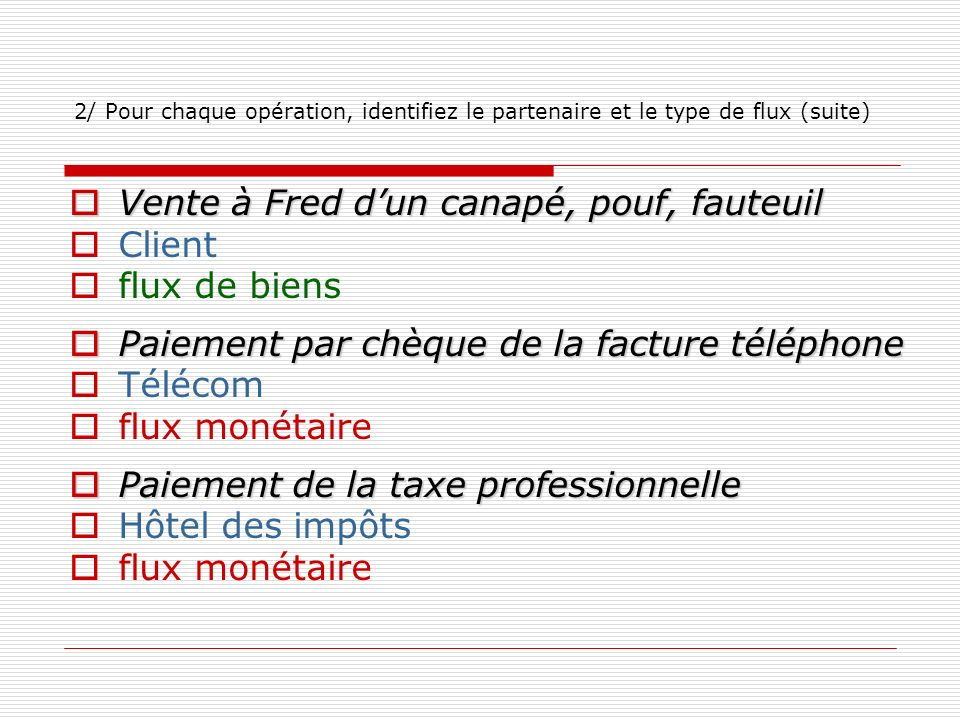 2/ Pour chaque opération, identifiez le partenaire et le type de flux (suite) Vente à Fred dun canapé, pouf, fauteuil Vente à Fred dun canapé, pouf, f