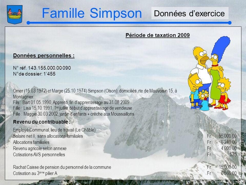 Famille Simpson Période de taxation 2009 Données personnelles : N° réf. 143.155.000.00 090 N°de dossier: 1455 Omer (15.03.1972) et Marge (25.10.1974)
