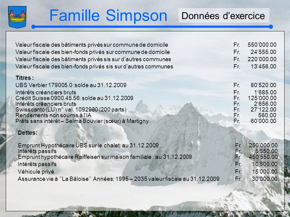 Famille Simpson Valeur fiscale des bâtiments privés sur commune de domicileFr.550000.00 Valeur fiscale des bien-fonds privés sur commune de domicileFr