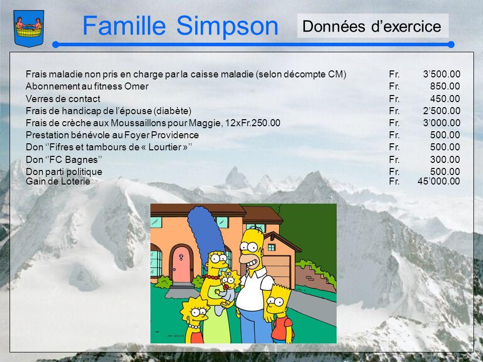 Famille Simpson Frais maladie non pris en charge par la caisse maladie (selon décompte CM)Fr.3500.00 Abonnement au fitness OmerFr.850.00 Verres de con