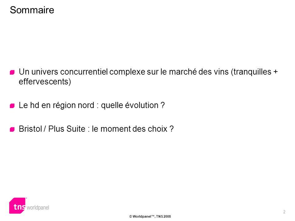 2 © Worldpanel, TNS 2008 Un univers concurrentiel complexe sur le marché des vins (tranquilles + effervescents) Le hd en région nord : quelle évolution .