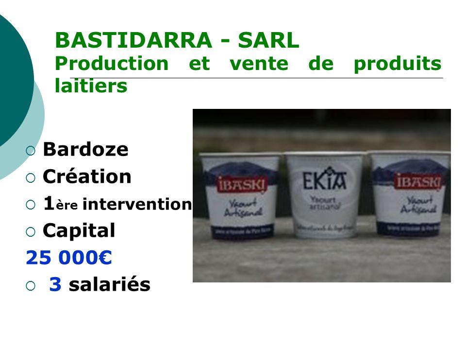 Bardoze Création 1 ère intervention Capital 25 000 3 salariés BASTIDARRA - SARL Production et vente de produits laitiers