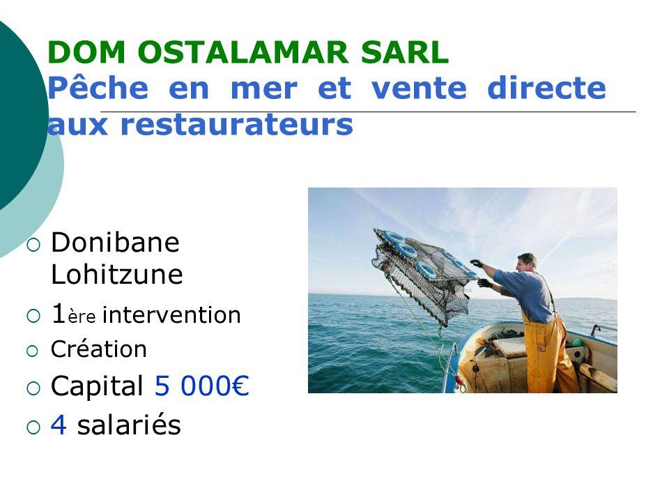 Donibane Lohitzune 1 ère intervention Création Capital 5 000 4 salariés DOM OSTALAMAR SARL Pêche en mer et vente directe aux restaurateurs
