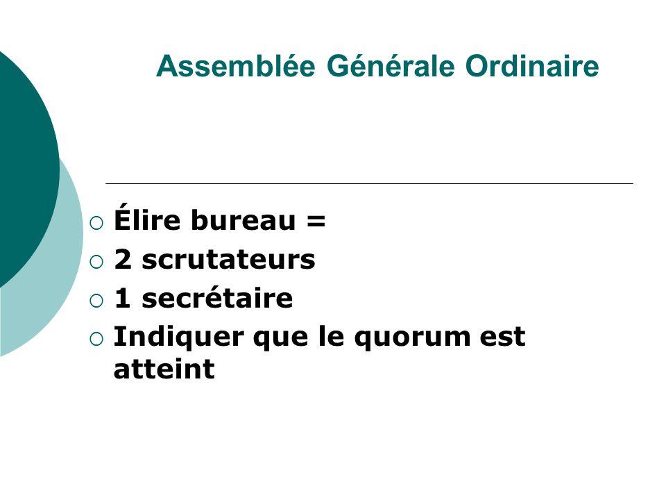 Assemblée Générale Ordinaire Élire bureau = 2 scrutateurs 1 secrétaire Indiquer que le quorum est atteint