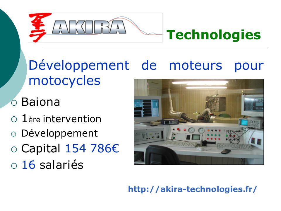 Baiona 1 ère intervention Développement Capital 154 786 16 salariés Technologies TTechnologies Développement de moteurs pour motocycles http://akira-t