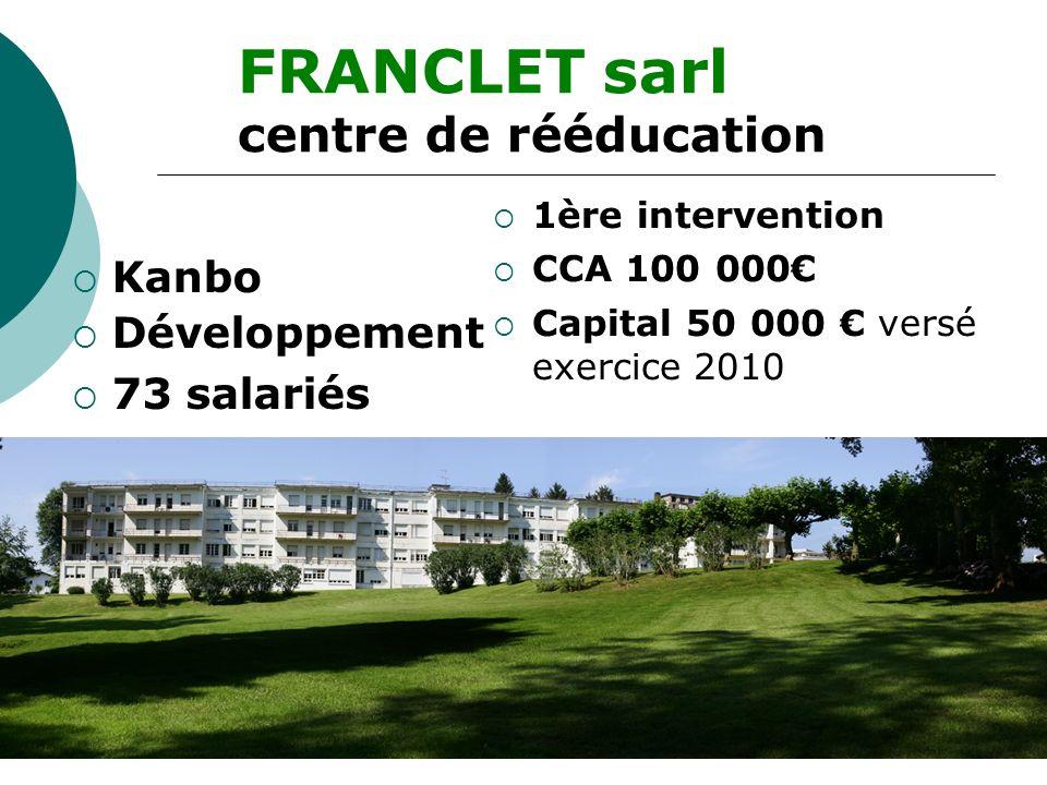 Kanbo Développement 73 salariés FRANCLET sarl centre de rééducation 1ère intervention CCA 100 000 Capital 50 000 versé exercice 2010