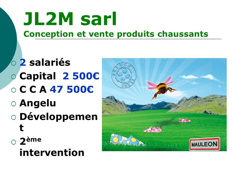 JL2M sarl Conception et vente produits chaussants 2 salariés Capital 2 500 C C A 47 500 Angelu Développemen t 2 ème intervention