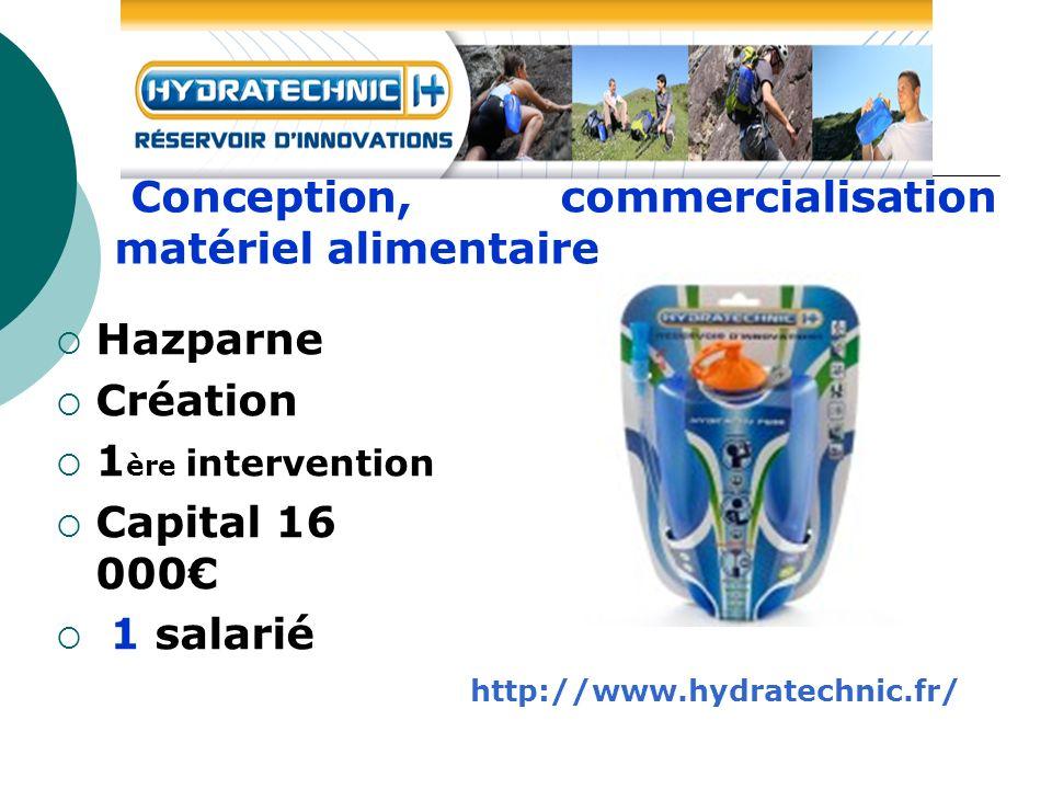 Hazparne Création 1 ère intervention Capital 16 000 1 salarié Conception, commercialisation matériel alimentaire http://www.hydratechnic.fr/