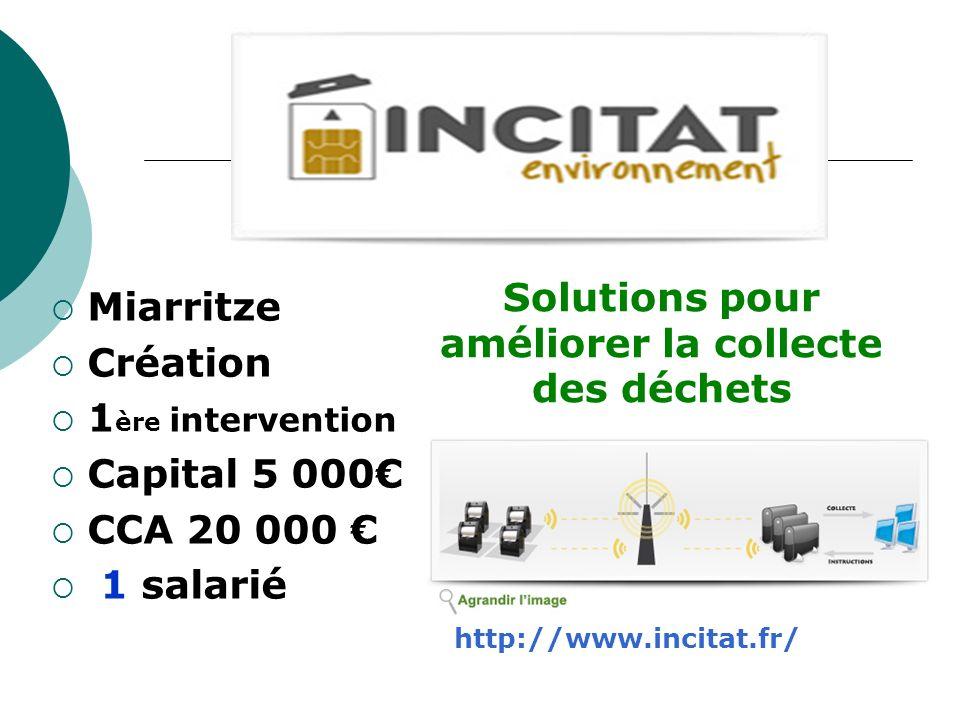 Miarritze Création 1 ère intervention Capital 5 000 CCA 20 000 1 salarié Solutions pour améliorer la collecte des déchets http://www.incitat.fr/