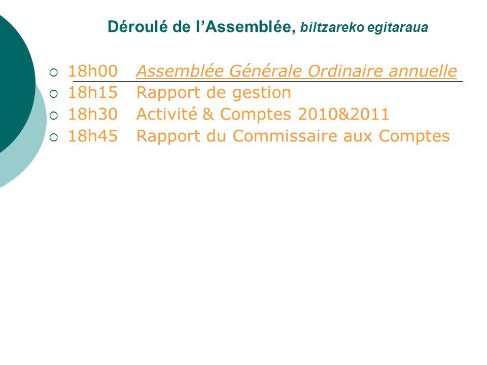 Déroulé de lAssemblée, biltzareko egitaraua 18h00 Assemblée Générale Ordinaire annuelle 18h15 Rapport de gestion 18h30 Activité & Comptes 2010&2011 18