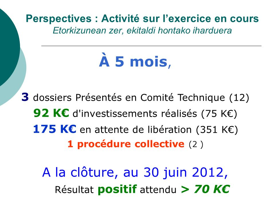 Perspectives : Activité sur lexercice en cours Etorkizunean zer, ekitaldi hontako iharduera À 5 mois, 3 dossiers Présentés en Comité Technique (12) 92