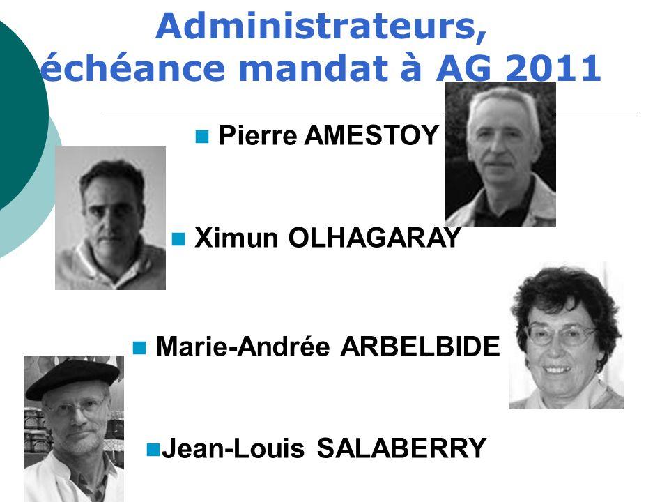 Pierre AMESTOY Ximun OLHAGARAY Marie-Andrée ARBELBIDE Jean-Louis SALABERRY Administrateurs, échéance mandat à AG 2011