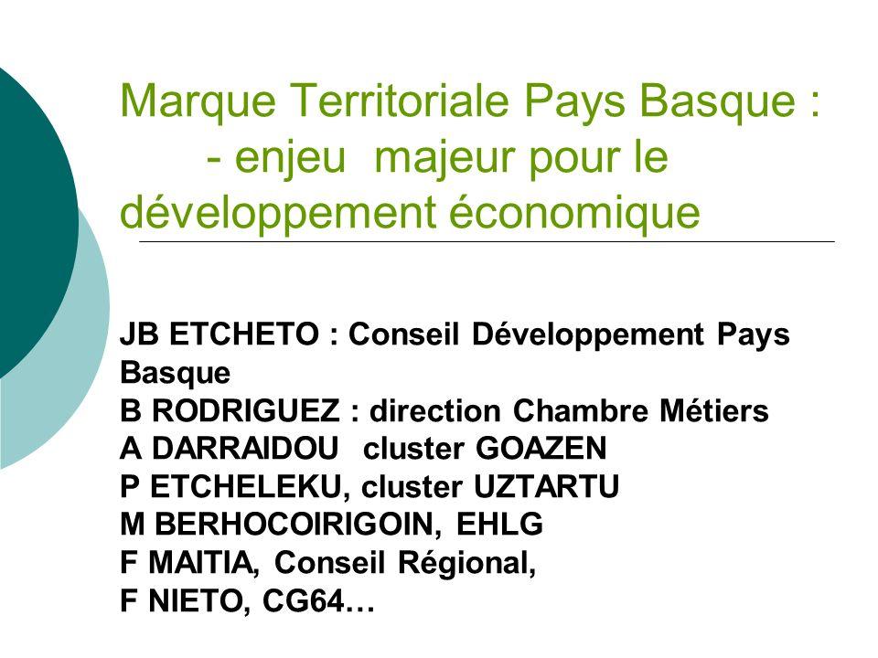 Marque Territoriale Pays Basque : - enjeu majeur pour le développement économique JB ETCHETO : Conseil Développement Pays Basque B RODRIGUEZ : directi