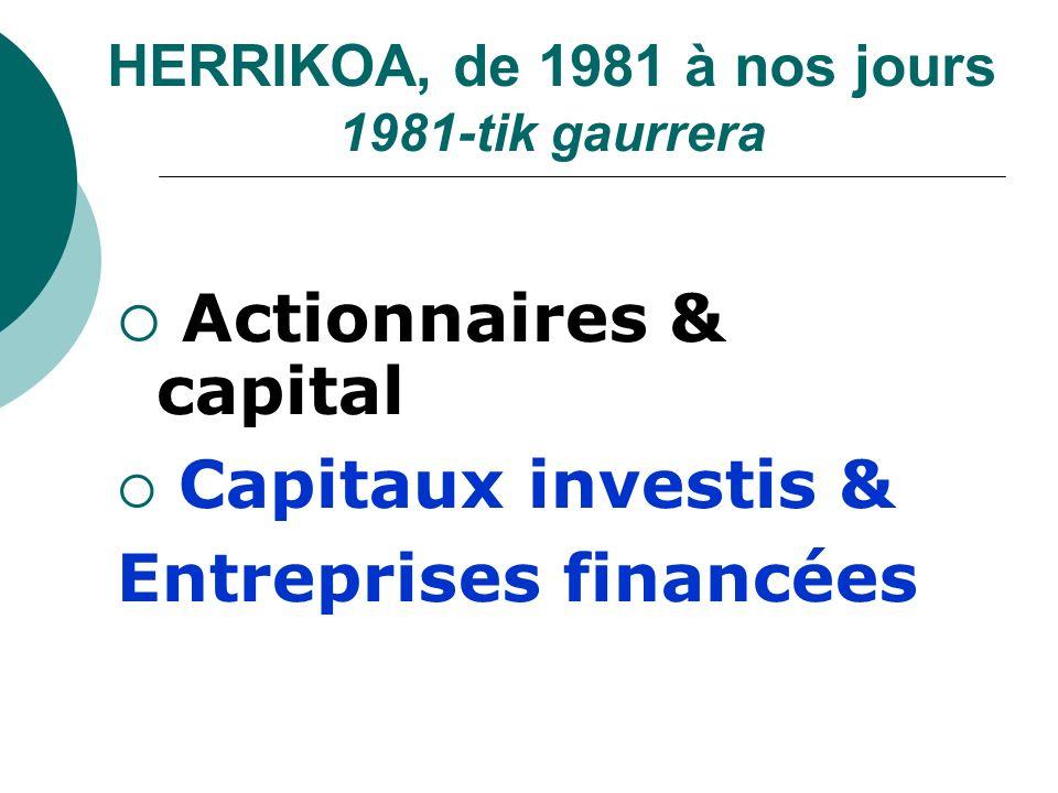 HERRIKOA, de 1981 à nos jours 1981-tik gaurrera Actionnaires & capital Capitaux investis & Entreprises financées