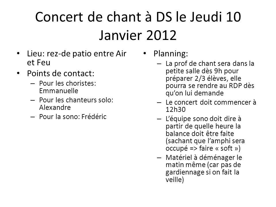 Concert de chant à DS le Jeudi 10 Janvier 2012 Lieu: rez-de patio entre Air et Feu Points de contact: – Pour les choristes: Emmanuelle – Pour les chan