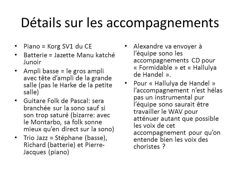 Détails sur les accompagnements Piano = Korg SV1 du CE Batterie = Jazette Manu katché Junoir Ampli basse = le gros ampli avec tête dampli de la grande salle (pas le Harke de la petite salle) Guitare Folk de Pascal: sera branchée sur la sono sauf si son trop saturé (bizarre: avec le Montarbo, sa folk sonne mieux quen direct sur la sono) Trio Jazz = Stéphane (basse), Richard (batterie) et Pierre- Jacques (piano) Alexandre va envoyer à léquipe sono les accompagnements CD pour « Formidable » et « Hallulya de Handel ».