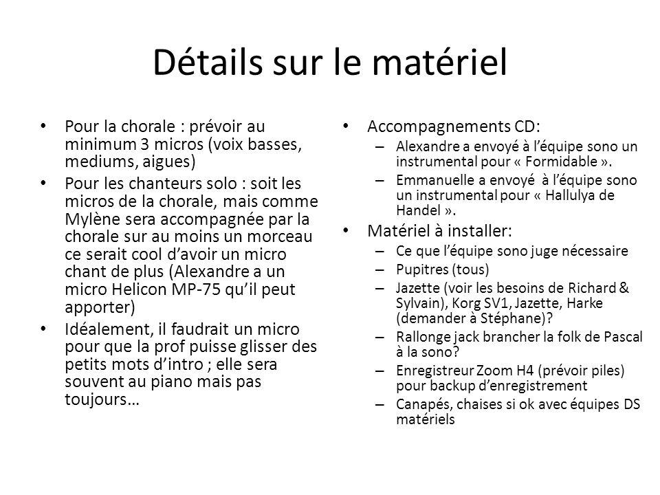 Détails sur le matériel Pour la chorale : prévoir au minimum 3 micros (voix basses, mediums, aigues) Pour les chanteurs solo : soit les micros de la c