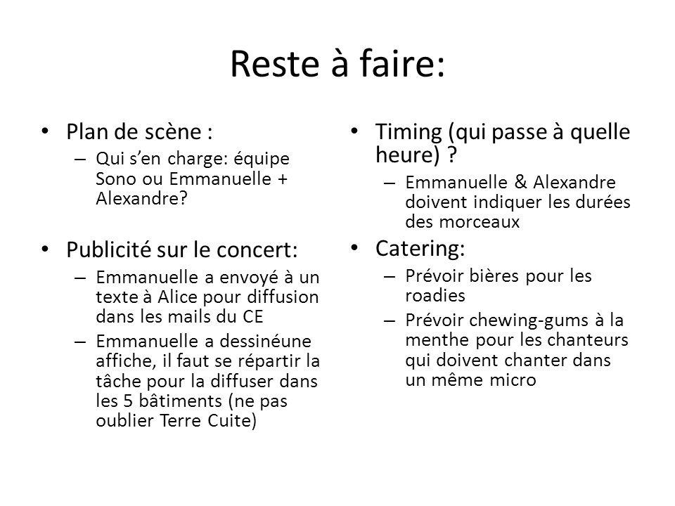 Reste à faire: Plan de scène : – Qui sen charge: équipe Sono ou Emmanuelle + Alexandre? Publicité sur le concert: – Emmanuelle a envoyé à un texte à A