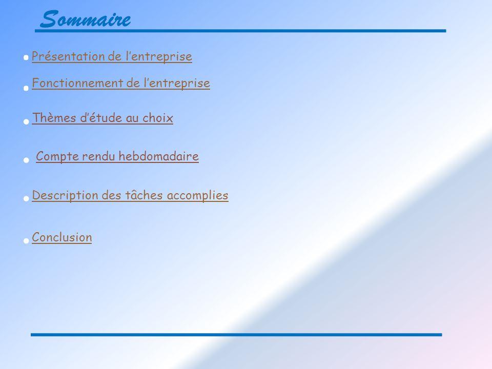 Sommaire.. Présentation de lentreprise Fonctionnement de lentreprise... Description des tâches accomplies Description des tâches accomplies. Conclusio