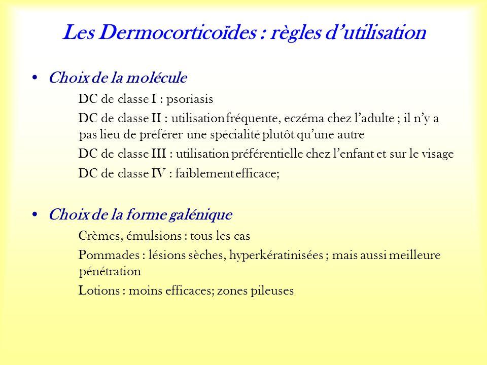 Les Dermocorticoïdes : règles dutilisation Choix de la molécule DC de classe I : psoriasis DC de classe II : utilisation fréquente, eczéma chez ladulte ; il ny a pas lieu de préférer une spécialité plutôt quune autre DC de classe III : utilisation préférentielle chez lenfant et sur le visage DC de classe IV : faiblement efficace; Choix de la forme galénique Crèmes, émulsions : tous les cas Pommades : lésions sèches, hyperkératinisées ; mais aussi meilleure pénétration Lotions : moins efficaces; zones pileuses
