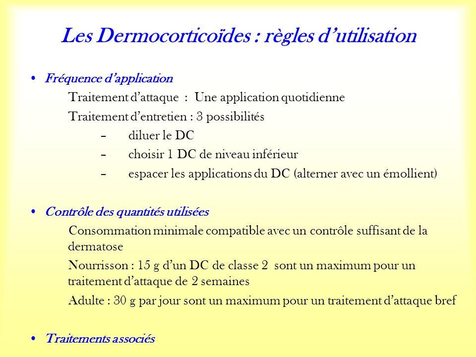 Les Dermocorticoïdes : règles dutilisation Fréquence dapplication Traitement dattaque : Une application quotidienne Traitement dentretien : 3 possibilités – diluer le DC – choisir 1 DC de niveau inférieur – espacer les applications du DC (alterner avec un émollient) Contrôle des quantités utilisées Consommation minimale compatible avec un contrôle suffisant de la dermatose Nourrisson : 15 g dun DC de classe 2 sont un maximum pour un traitement dattaque de 2 semaines Adulte : 30 g par jour sont un maximum pour un traitement dattaque bref Traitements associés