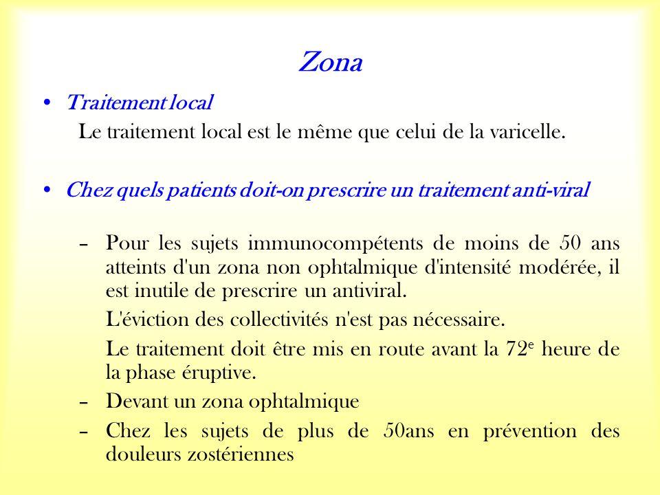 Zona Traitement local Le traitement local est le même que celui de la varicelle.