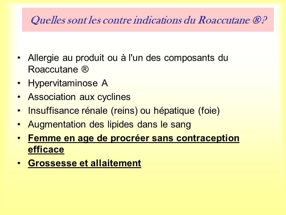 Quelles sont les contre indications du Roaccutane ®.