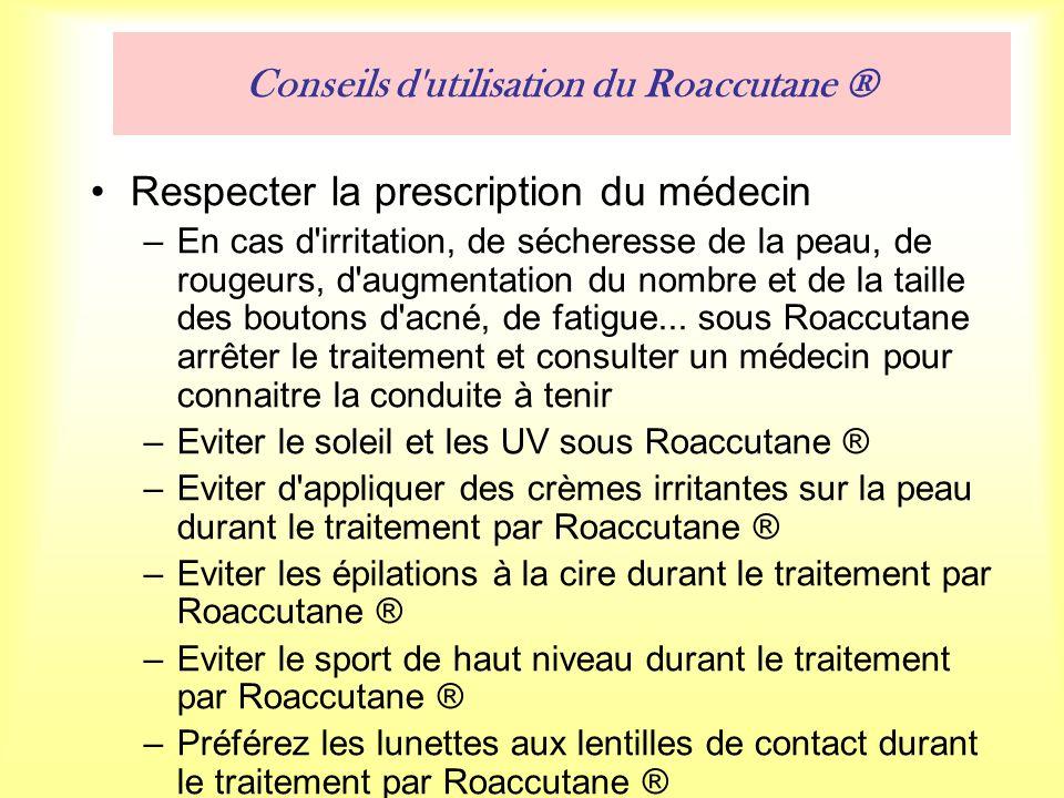 Conseils d utilisation du Roaccutane ® Respecter la prescription du médecin –En cas d irritation, de sécheresse de la peau, de rougeurs, d augmentation du nombre et de la taille des boutons d acné, de fatigue...