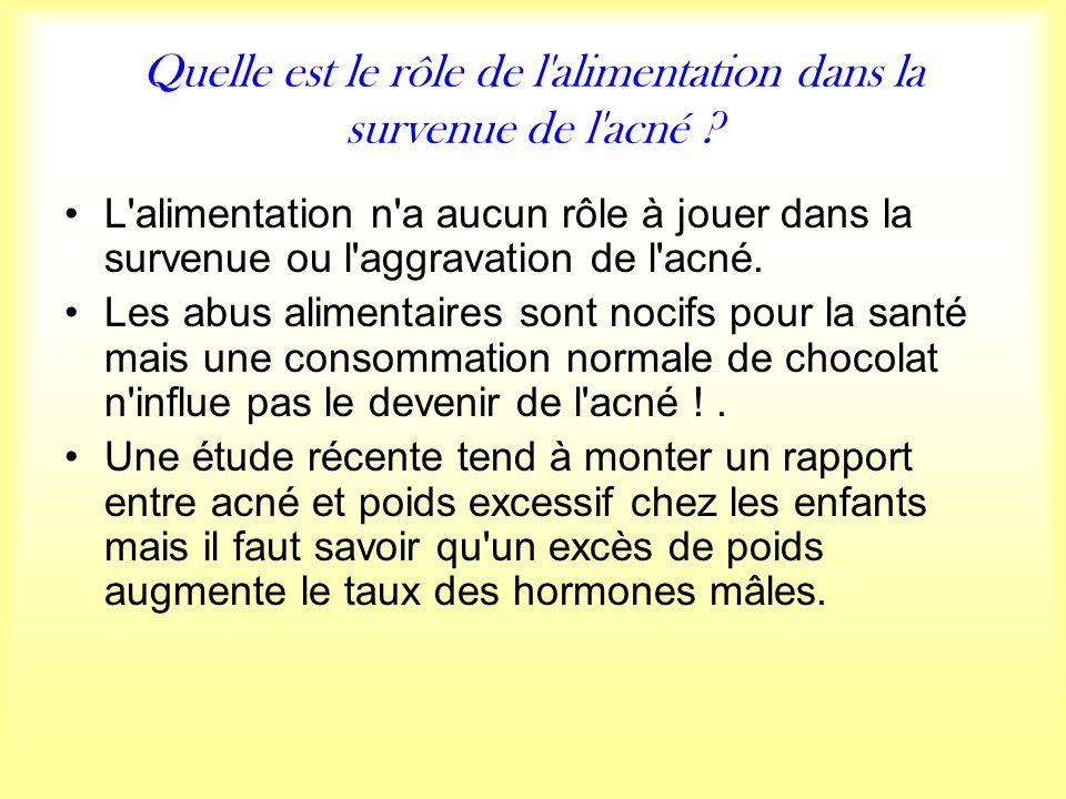 Quelle est le rôle de l alimentation dans la survenue de l acné .