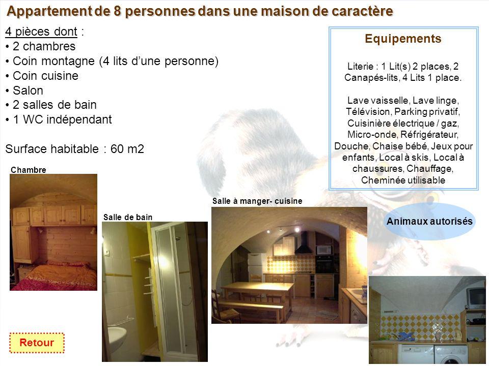 Appartement de 8 personnes dans une maison de caractère 4 pièces dont : 2 chambres Coin montagne (4 lits dune personne) Coin cuisine Salon 2 salles de bain 1 WC indépendant Surface habitable : 60 m2 Equipements Literie : 1 Lit(s) 2 places, 2 Canapés-lits, 4 Lits 1 place.