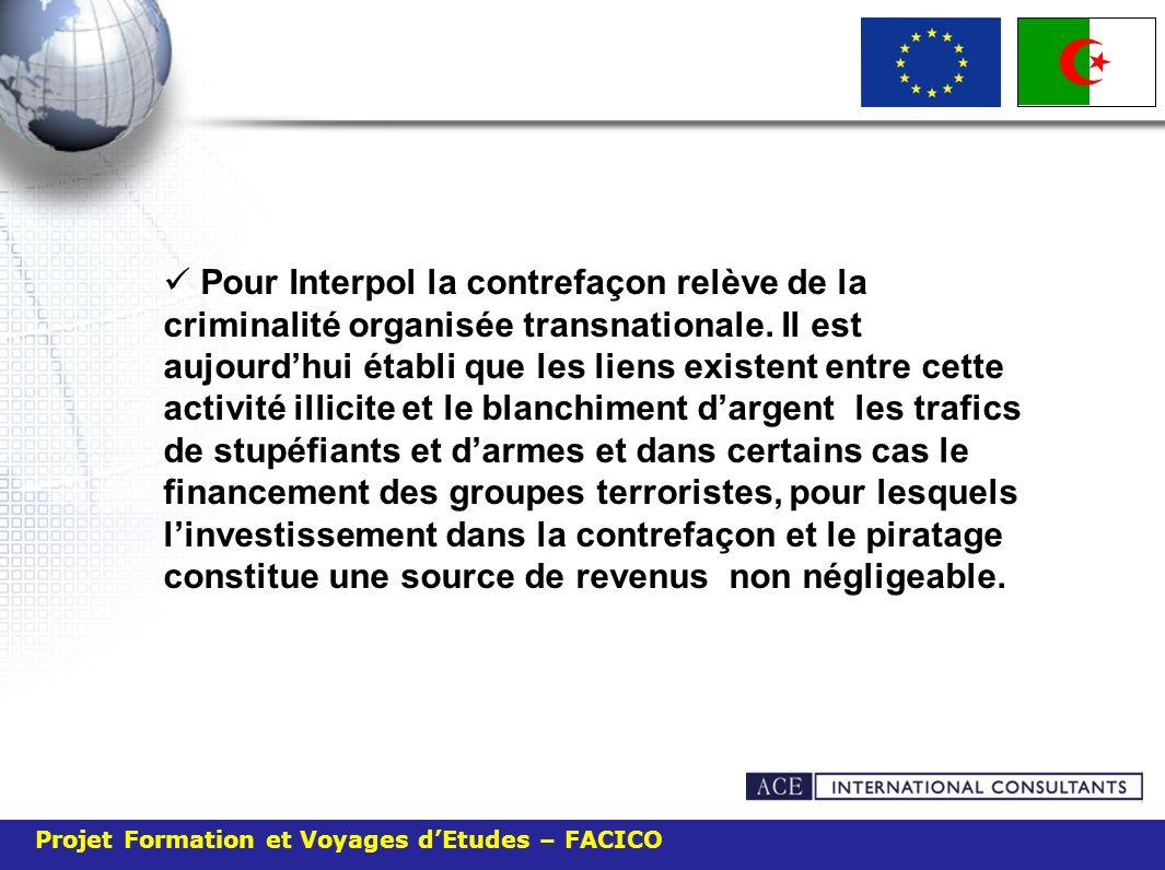 Projet Formation et Voyages dEtudes – FACICO Pour Interpol la contrefaçon relève de la criminalité organisée transnationale. Il est aujourdhui établi