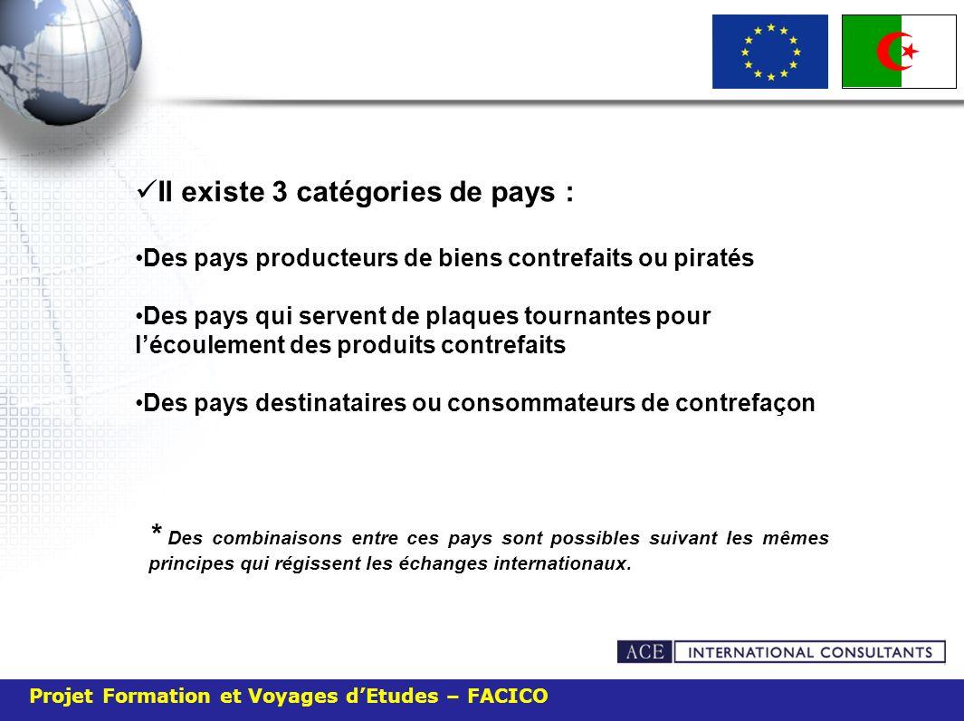 Projet Formation et Voyages dEtudes – FACICO Il existe 3 catégories de pays : Des pays producteurs de biens contrefaits ou piratés Des pays qui serven
