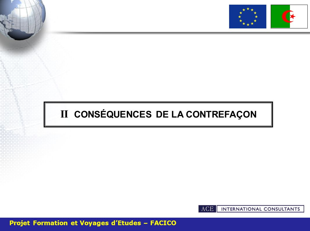 Projet Formation et Voyages dEtudes – FACICO II CONSÉQUENCES DE LA CONTREFAÇON