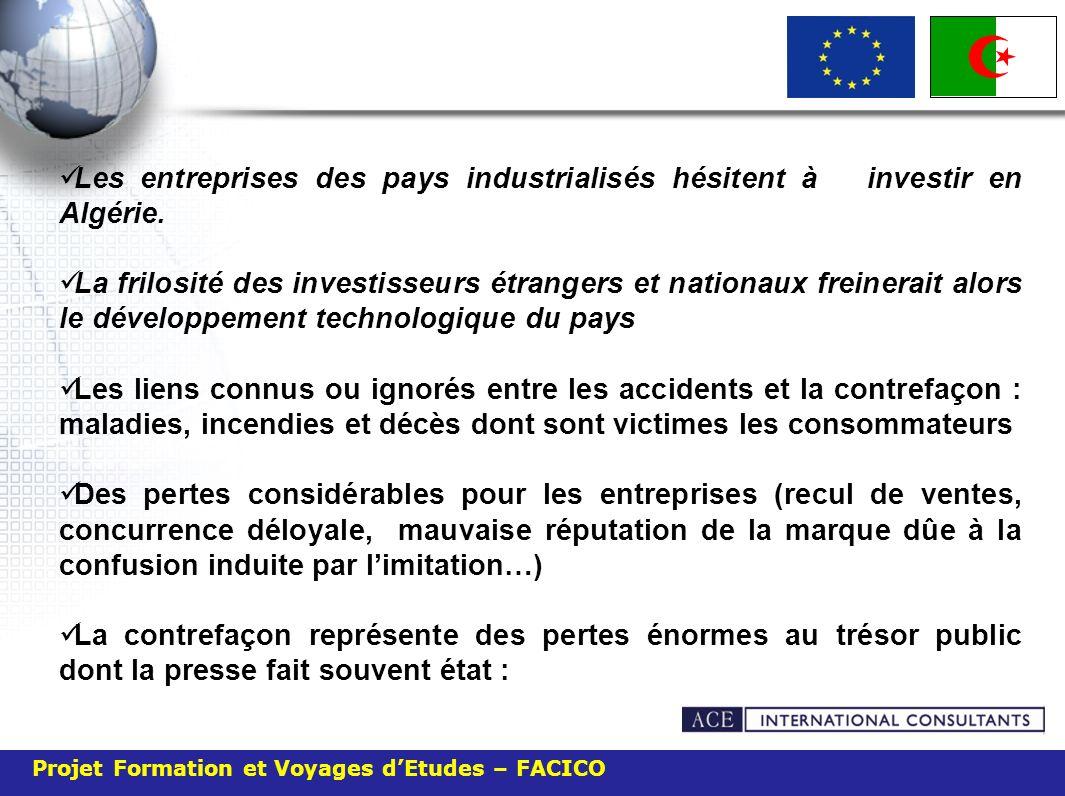 Projet Formation et Voyages dEtudes – FACICO Les entreprises des pays industrialisés hésitent à investir en Algérie. La frilosité des investisseurs ét