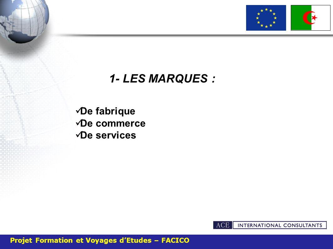 Projet Formation et Voyages dEtudes – FACICO 1- LES MARQUES : De fabrique De commerce De services