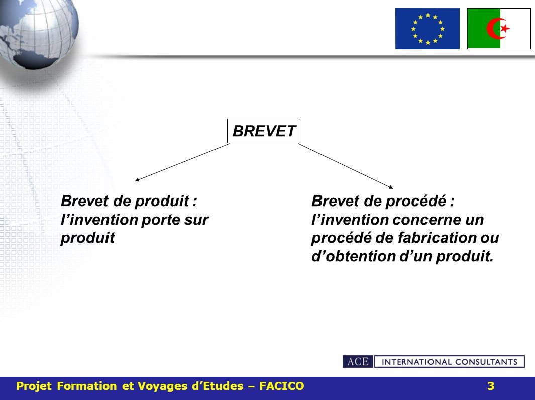 Projet Formation et Voyages dEtudes – FACICO 3 Brevet de produit : linvention porte sur produit BREVET Brevet de procédé : linvention concerne un proc