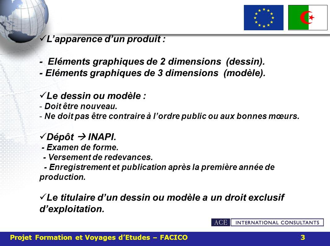 Projet Formation et Voyages dEtudes – FACICO 3 Lapparence dun produit : - Eléments graphiques de 2 dimensions (dessin). - Eléments graphiques de 3 dim