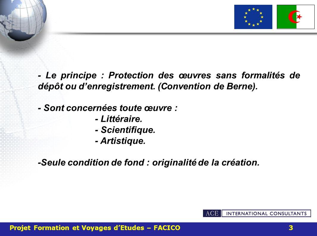 Projet Formation et Voyages dEtudes – FACICO 3 - Le principe : Protection des œuvres sans formalités de dépôt ou denregistrement. (Convention de Berne