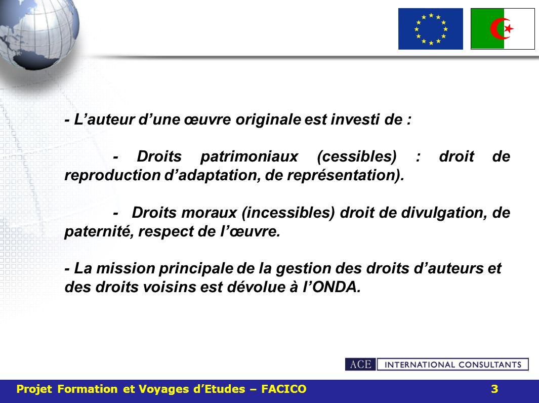 Projet Formation et Voyages dEtudes – FACICO 3 - Lauteur dune œuvre originale est investi de : - Droits patrimoniaux (cessibles) : droit de reproducti