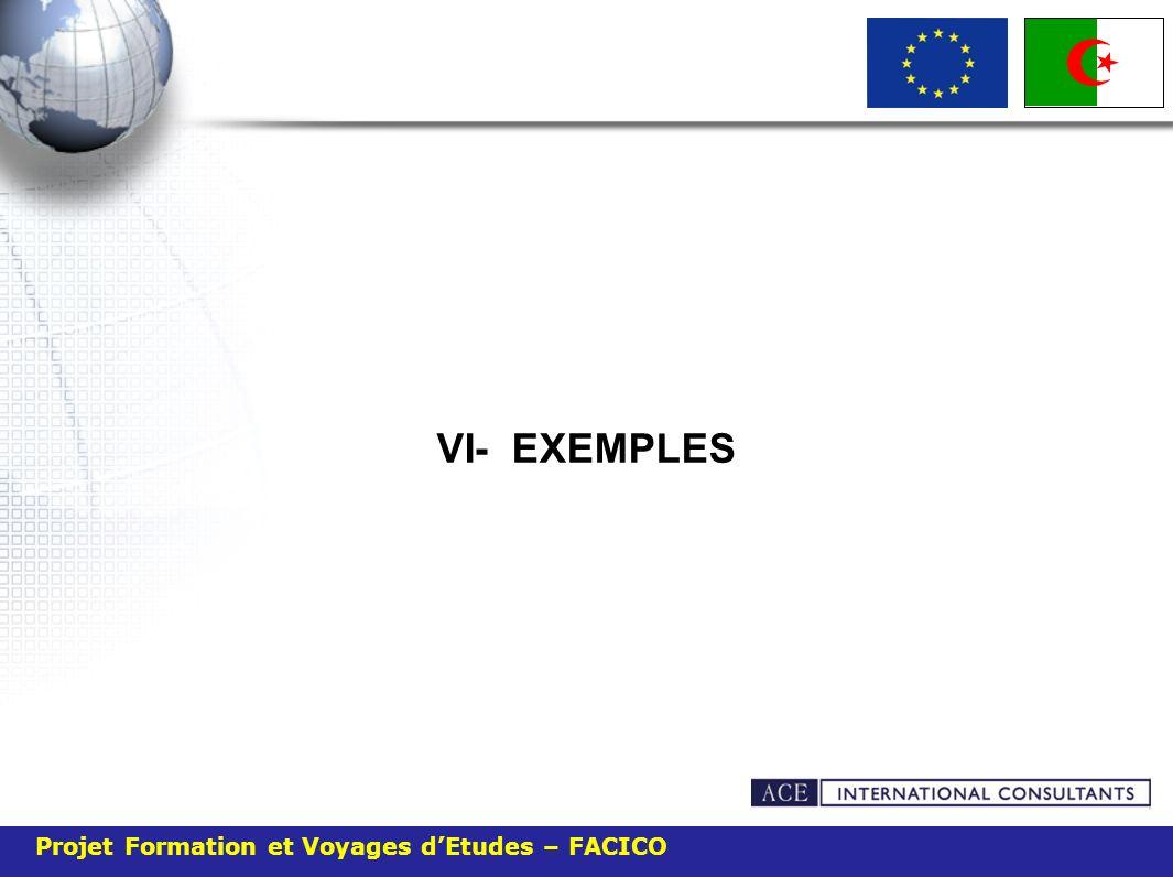 Projet Formation et Voyages dEtudes – FACICO VI- EXEMPLES