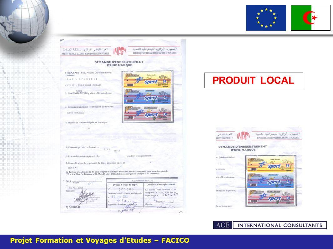 Projet Formation et Voyages dEtudes – FACICO PRODUIT LOCAL